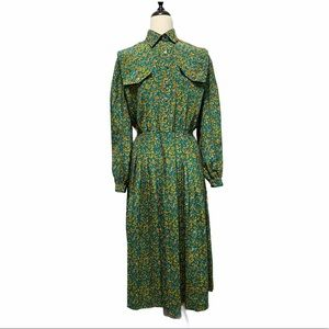 Leslie Fay Vintage Button Up Dress Blue Gold 10